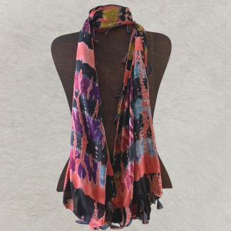 Colorful Tasseled Tie-Dye Scarf