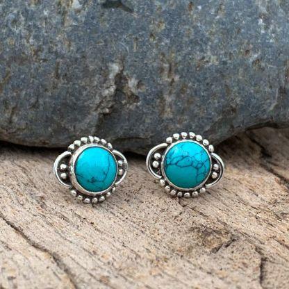 Turquoise Concho Stud Earrings