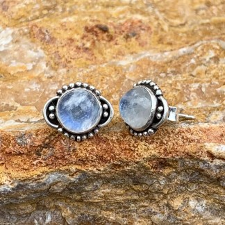 Rainbow Moonstone Round Earrings
