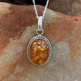 xSterling Oval Amber Pendant