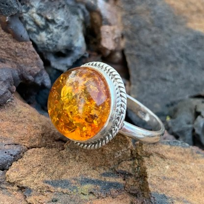Sterling Round Amber Ring