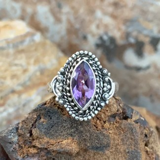 Marquise Amethyst Sterling Ring