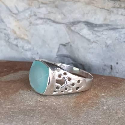 Aqua Chalcedony Filigree Ring