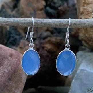 Blue Chalcedony Oval Earrings