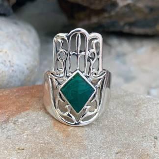 Sterling Hamsa Malachite Ring