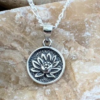 Sterling Lotus Medallion Pendant