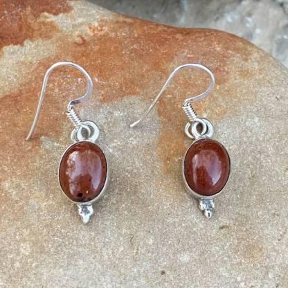 Mahogany Obsidian Oval Earrings