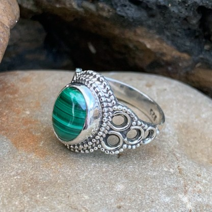 Sterling Malachite Circle Ring