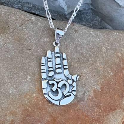 Sterling Om Hand Pendant
