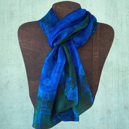 Om Blue Silk Scarf