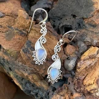 Elegant Rainbow Moonstone Earrings