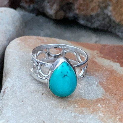 Teardrop Turquoise Sterling Ring