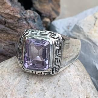 Amethyst Greek Key Ring