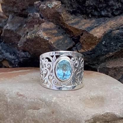 Blue Topaz Romance Ring