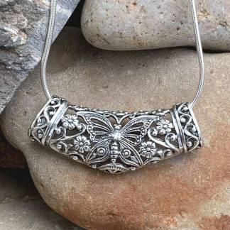 Elegant Butterfly Floral Pendant