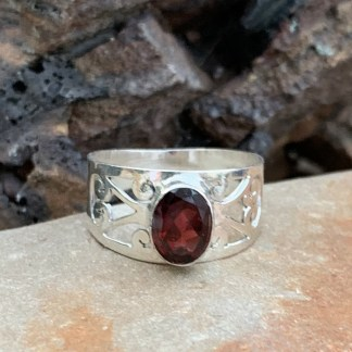Sterling Filigree Garnet Ring