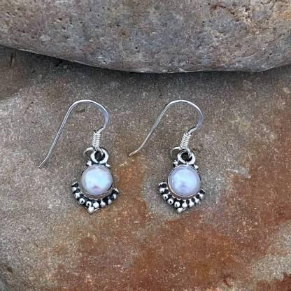 Petite Pearl & Sterling Earrings