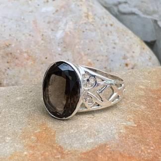 Smoky Topaz Filigree Ring