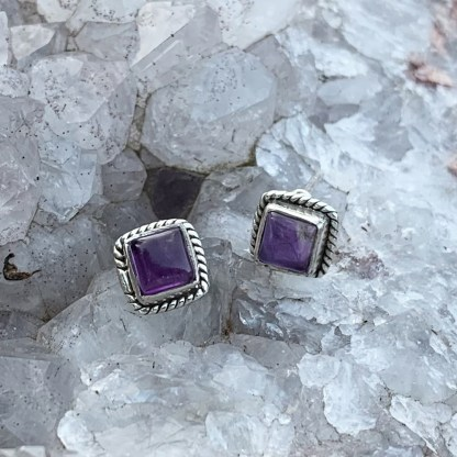 Sterling Amethyst Square Studs