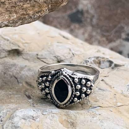 Black Onyx Silver-Beaded Ring