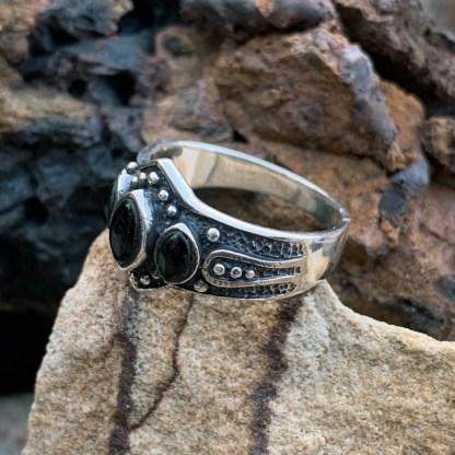 Triple Black Agate Ring