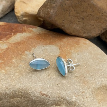 Blue Chalcedony Marquise Studs
