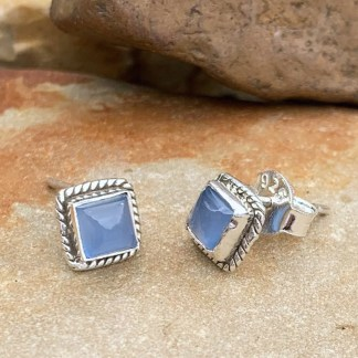 Blue Chalcedony Sterling Studs