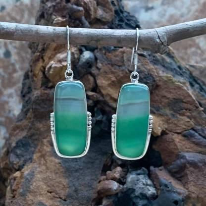 Botswana Agate Mint-Green Earrings