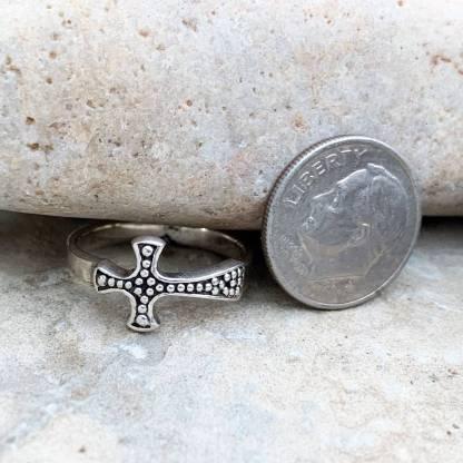 Sterling Sideways Cross Ring