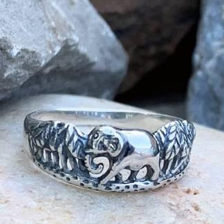 Sterling Jungle Elephant Ring