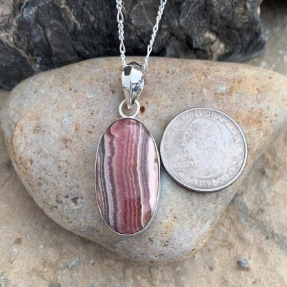 Oblong Rhodochrosite & Sterling Pendant