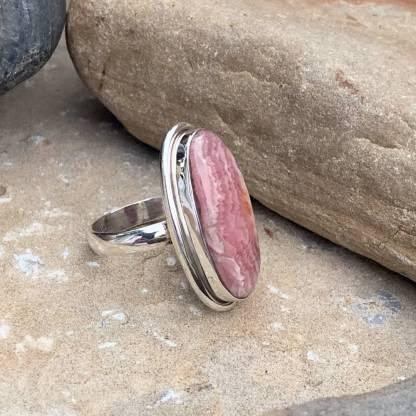 Oblong Sterling & Rhodochrosite Ring
