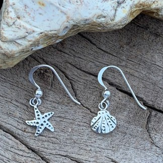 Starfish & Seashell Sterling Earrings