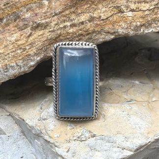 Blue Chalcedony Rectangular Ring