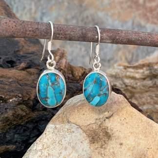 Oval Blue Copper-Turquoise Earrings