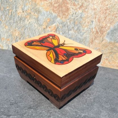 Handcrafted Butterfly Locking Chest