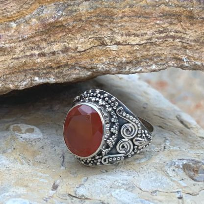 Sterling & Faceted Carnelian Ring