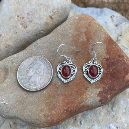 Sterling Heart & Carnelian Earrings