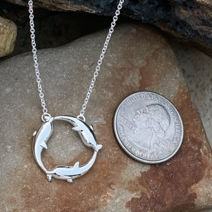 Sterling Triple Dolphin Necklace