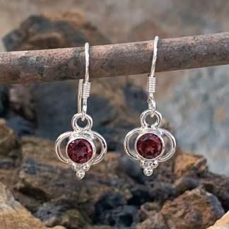 Delicate Garnet & Sterling Earrings