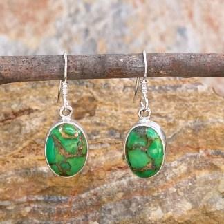 Oval Green-Turquoise Copper Earrings