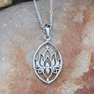 Sterling Full Lotus Pendant