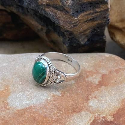 Malachite Double Hearts Ring