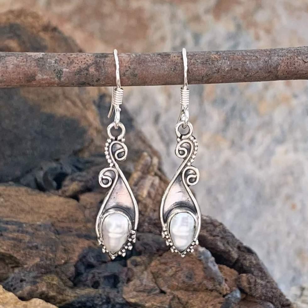 Elegant Sterling Pearl Earrings