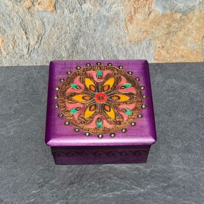 Handcrafted Lavender Mandala Box