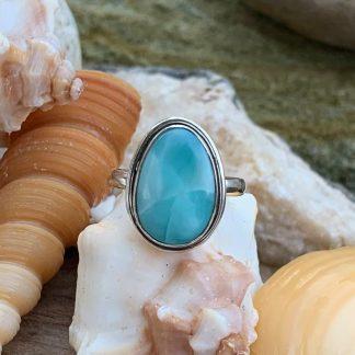 Pear Shaped Larimar Ring
