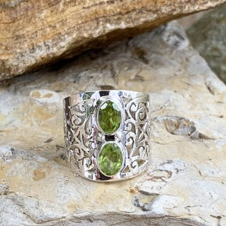 Double Peridot Sterling Ring