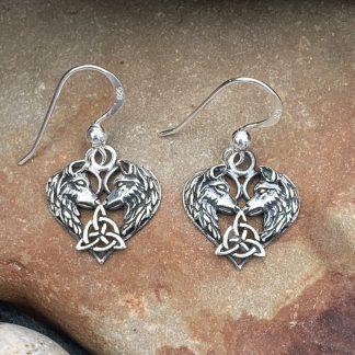 Celtic Sterling Wolf Earrings