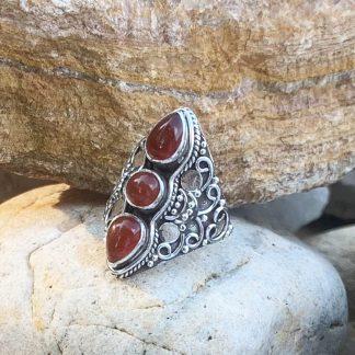 Ornate Triple Carnelian Ring