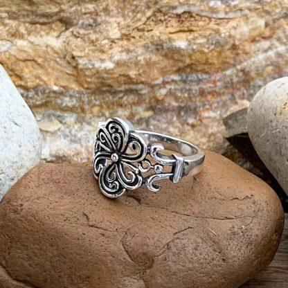 Sterling Swirling Flower Ring